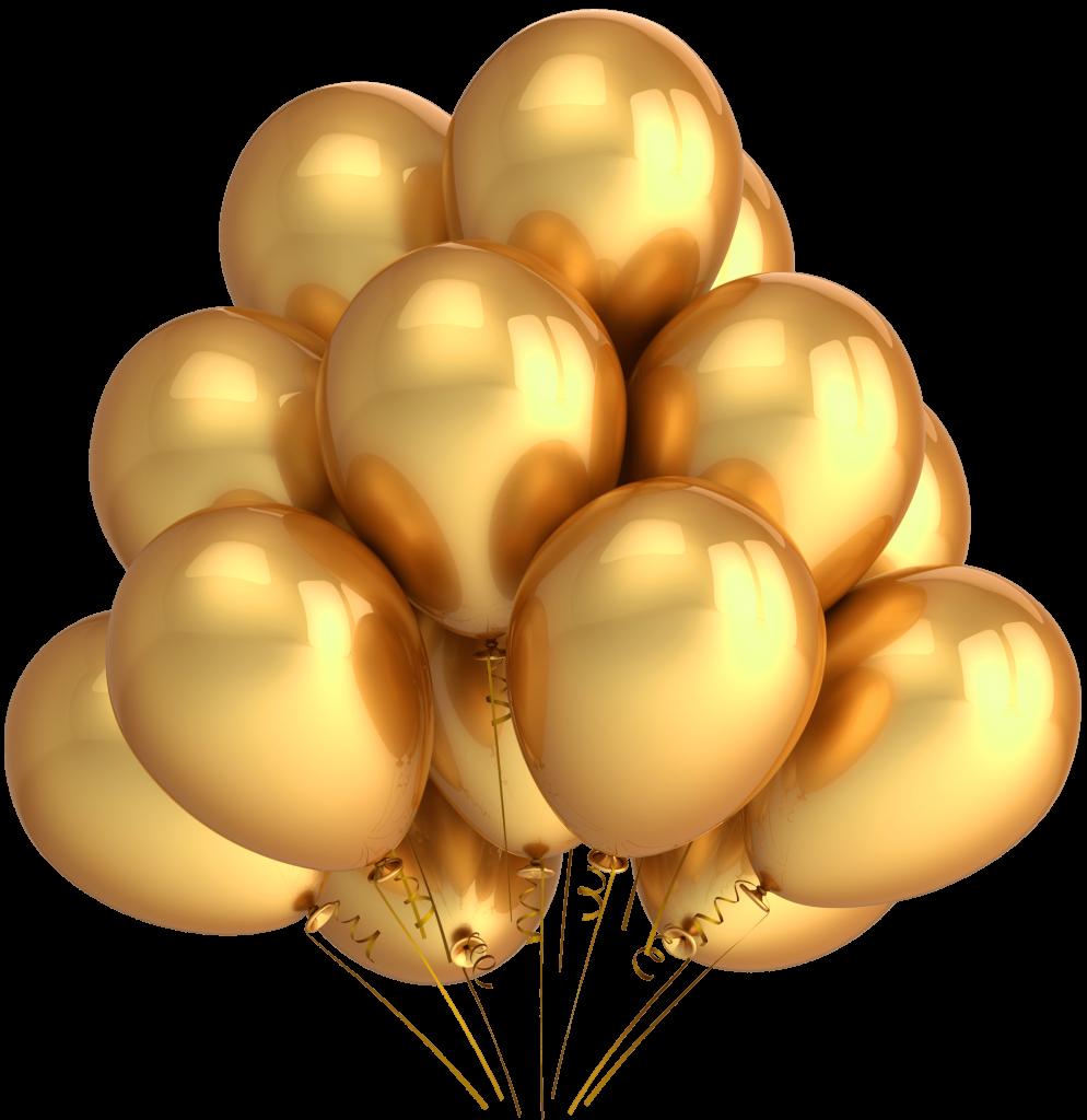 بالوانات ذهبية بخلفية شفافة للتصميم