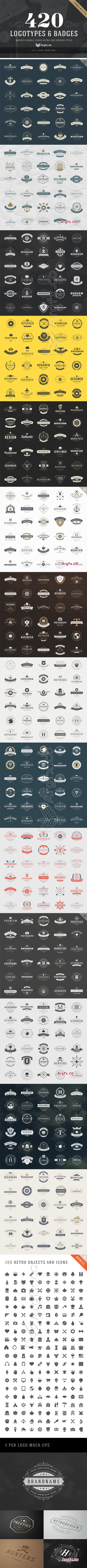 CreativeMarket - 420 Vintage Logotypes and Badges 221794
