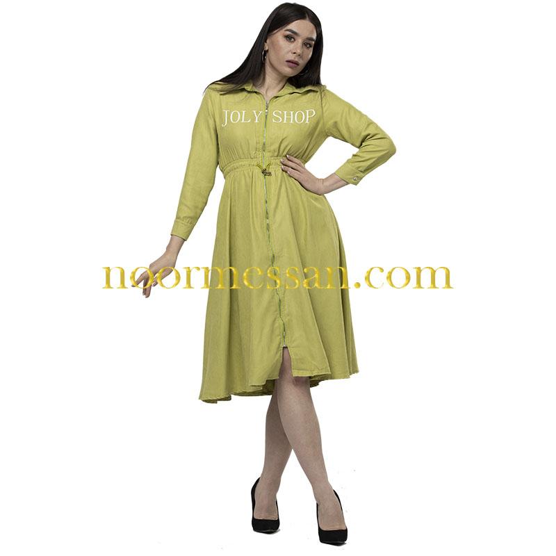 فستان شامواه كاجوال ميدي اخضر