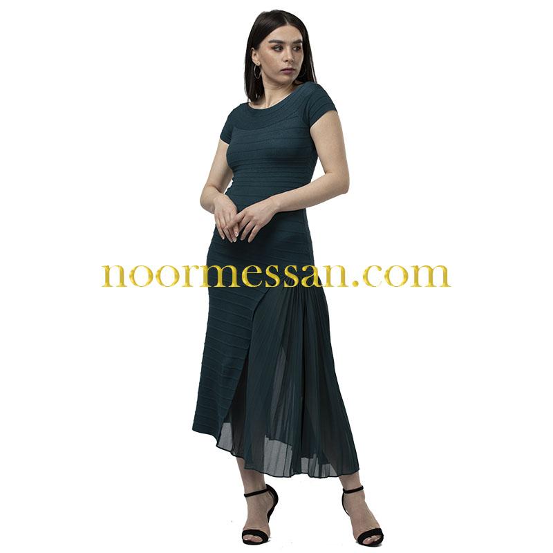 فستان كوكتيل ميدي للمناسبات- قماش بوكليه تركواز