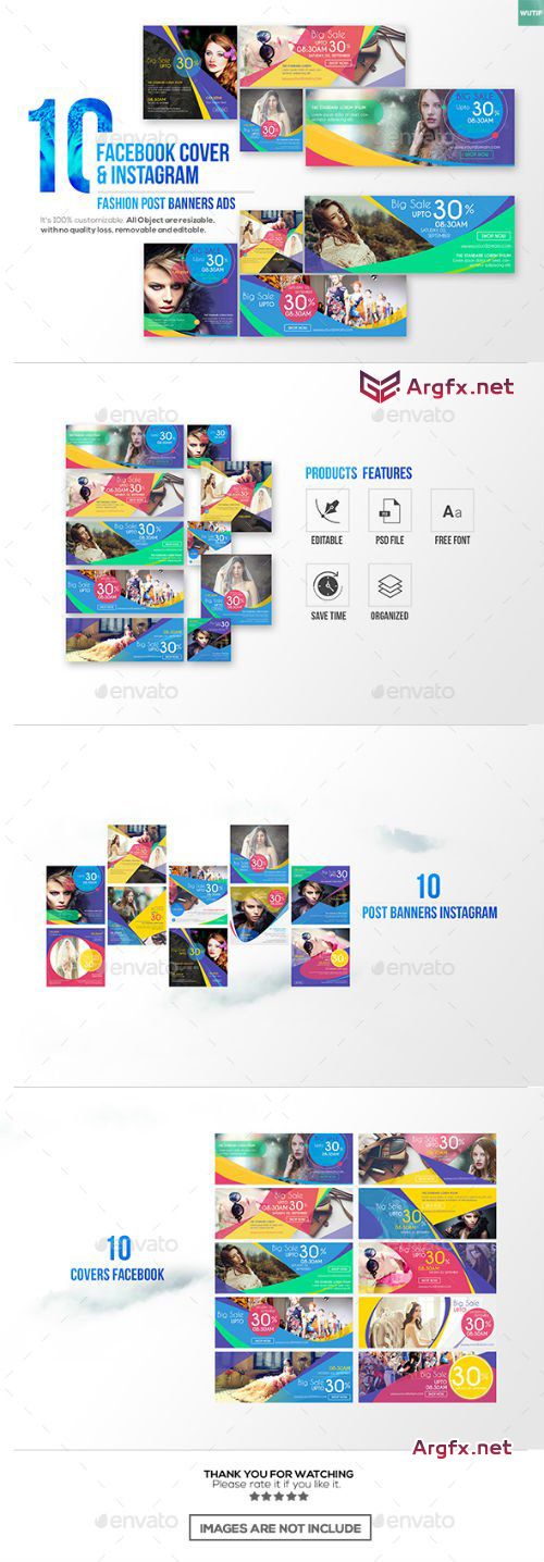 10 Facebook Cover & 10 Instagram Fashion Post Banners Ads 17656114
