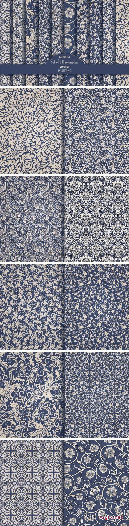 CM 1340444 - Set of 10 Seamless Pattern Baroque